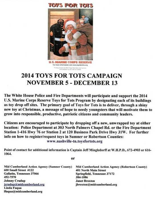 Toys For Tots Advertisement : White house cruisin christmas parade miracle on main st