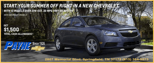 Payne Chevrolet Start your summer right ad 511