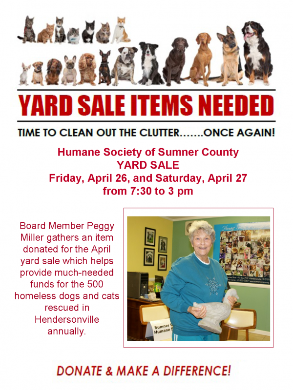 humane society yard sale