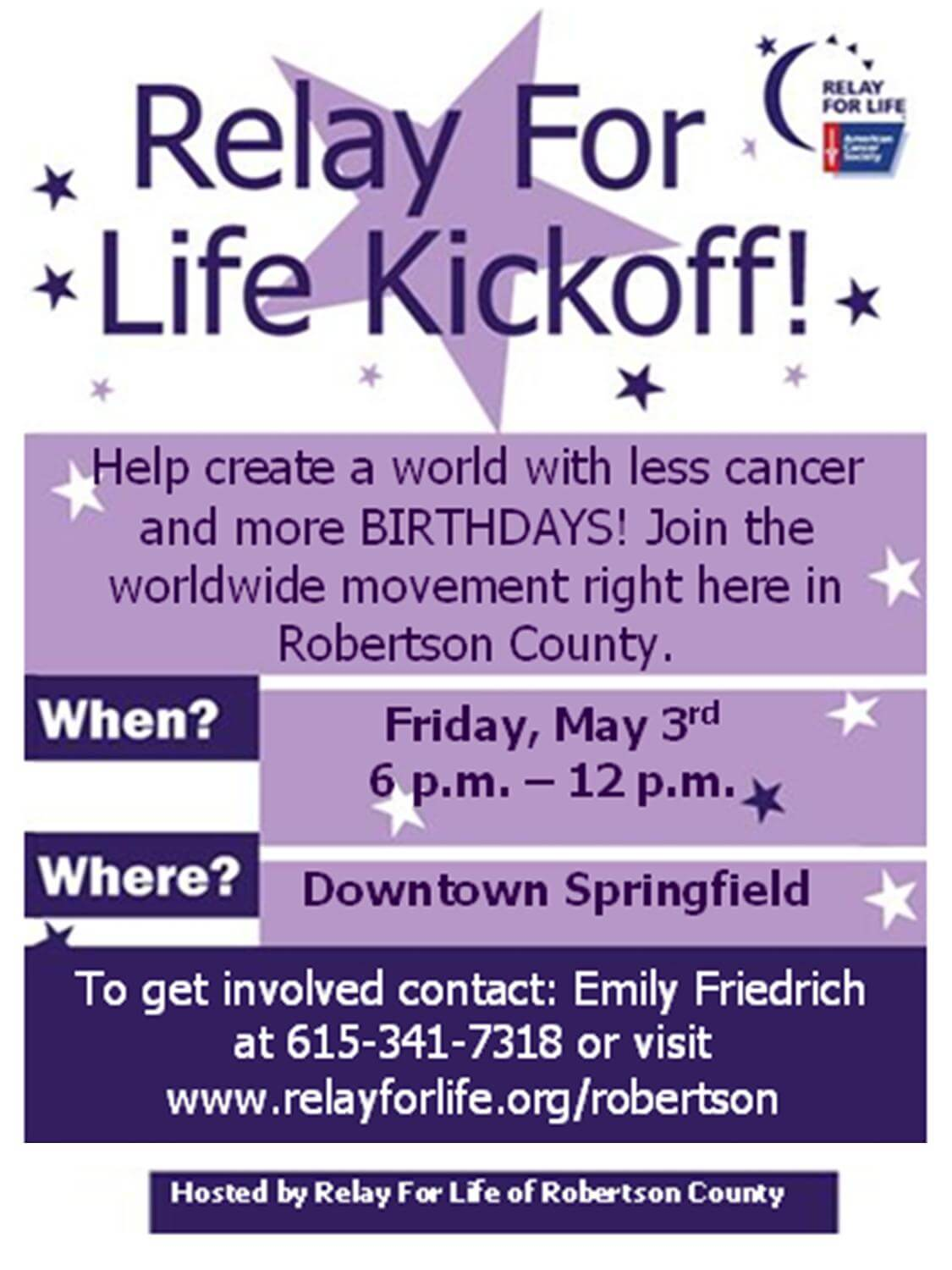 Relay for life kickoff may 3 2013 for Relay for life flyer template