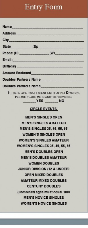 tennis entry form