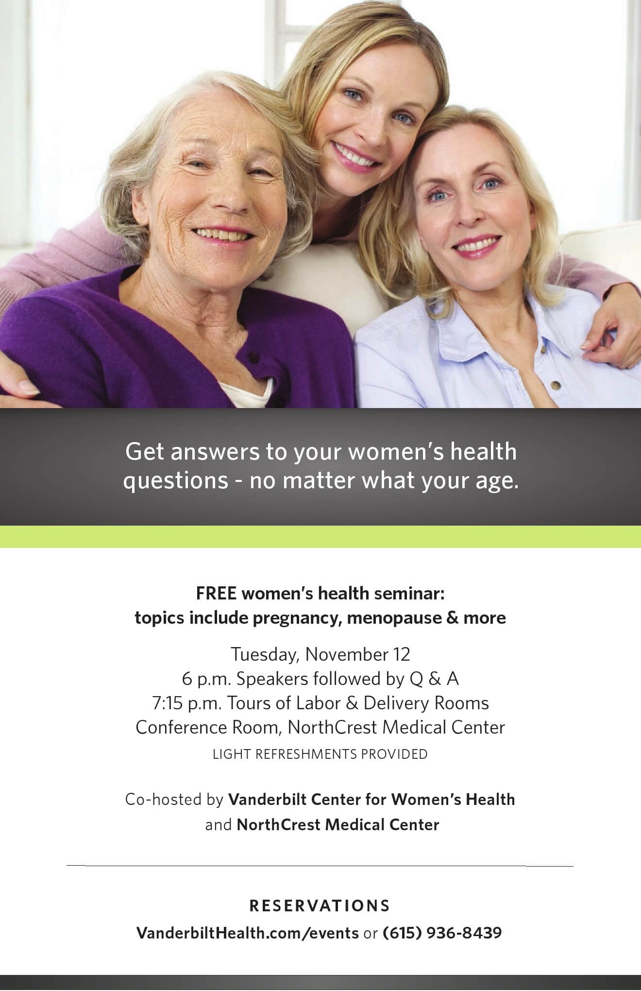 FREE Womens Health Seminar Pregnancy Menopause More – Seminar Flyer