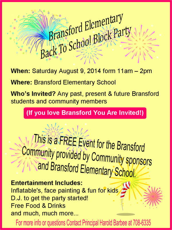 Bransford block party flyer