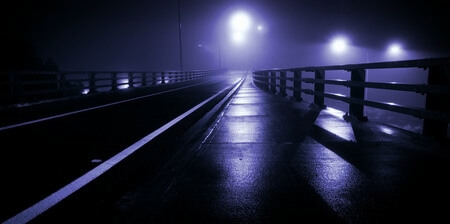 foggy road at night
